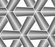 Monochrome halftone striped tetrapods with white grid Stock Photos