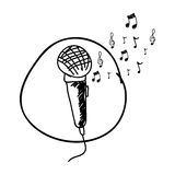 monochrome hand drawing of microphone in circle and musical notes Stock Images