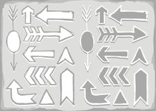 Monochrome hand drawn arrow set Royalty Free Stock Photos