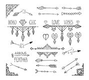 Monochrome hand drawn boho tribal elements collection. Stock Photography