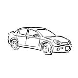Monochrome hand drawn car on white background, black and white i Royalty Free Stock Photo