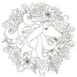 Monochrome hand drawn horse in flowers. Doodle style anti stress Royalty Free Stock Photos