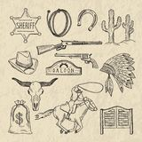 Monochrome hand drawn illustrations of different wild west symbols. Western pictures set isolate stock illustration