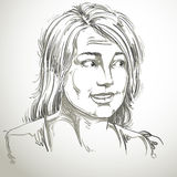 Monochrome  hand-drawn image, blameworthy young woman. Bla Stock Images