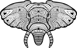 Monochrome hand-drawn ink drawing. Painted elephant on white background. Stock Images