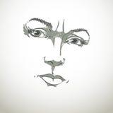 Monochrome hand-drawn portrait of white-skin doubtful woman Stock Photography