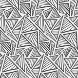 Monochrome hand drawn striped triangles pattern royalty free illustration