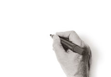 Monochrome hand writing with marker on white background Royalty Free Stock Image