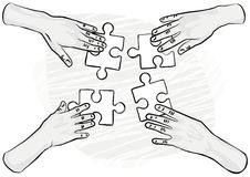 Monochrome hands with puzzles teamwork Royalty Free Stock Images