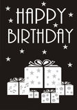 Monochrome Happy Birthday Card Royalty Free Stock Image