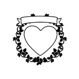 Monochrome heart and ribbon with creeper. Illustration Stock Photo