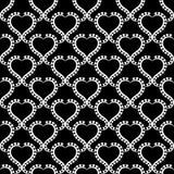 Monochrome Hearts Seamless Texture Wallpaper. Heart white frames wallpaper pattern on black background. Seamless texture background Royalty Free Stock Photos