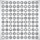 Monochrome hexagon icon set. Set of monochrome hexagon icons with different symbols and signs Royalty Free Stock Photography