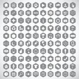 Monochrome hexagon icon set Royalty Free Stock Photography