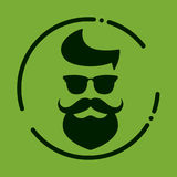 Monochrome hipster with beard, glasses, haircut, mustaches. Silh Stock Photo