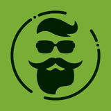 Monochrome hipster with beard, glasses, haircut, mustaches. Silh Stock Images