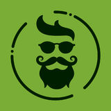 Monochrome hipster with beard, glasses, haircut, mustaches. Silh Royalty Free Stock Photo