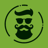 Monochrome hipster with beard, glasses, haircut, mustaches. Silh Stock Photography