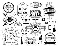 Monochrome hipster modern line logo set. Hat and horn, gramophone and tie, guitar and watch, mustache and bicycle. Vector illustration Royalty Free Stock Photography