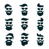 Monochrome hipsters faces set with different beards, glasses, ha vector illustration