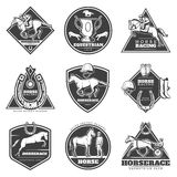 Monochrome Horse Racing Labels Set Royalty Free Stock Images