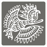 Monochrome icon with American Indians art and ethnic ornaments Royalty Free Stock Image