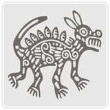Monochrome icon with American Indians art and ethnic ornaments Stock Photography