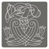 Monochrome icon with Celtic art and ethnic ornaments Royalty Free Stock Image