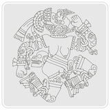 Monochrome icon with Coyolxauhqui aztec goddess of the moon Stock Photo