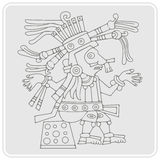 Monochrome icon with symbol from Aztec codices Royalty Free Stock Image