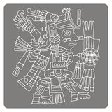 monochrome icon with symbol from Aztec codices Stock Image