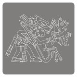 Monochrome icon with symbol from Aztec codices Royalty Free Stock Images
