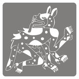 Monochrome icon with symbol from Aztec codices Stock Photo