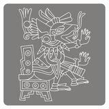 Monochrome icon with symbol from Aztec codices Royalty Free Stock Photography