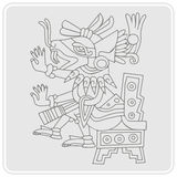 Monochrome icon with symbol from Aztec codices Stock Images