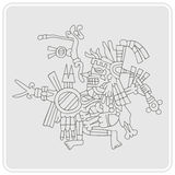 Monochrome icon with symbols from Aztec codices Stock Image