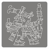 Monochrome icon with symbols from Aztec codices. For your design Royalty Free Stock Photo