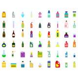 Monochrome icons set with bottles stock illustration