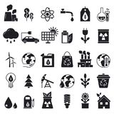 Monochrome icons set of ecology. Vector pictures. Renewable bio energy, solar panel and oil illustration Royalty Free Stock Photo