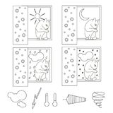 Monochrome icons of weather with sitting on window cat vector illustration