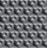 Monochrome illusive abstract geometric seamless pattern with 3d. Cubes. Vector stylized texture, best for graphic and web design vector illustration
