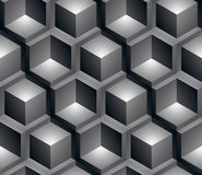 Monochrome illusive abstract geometric seamless pattern, 3d. Monochrome illusive abstract geometric seamless pattern with 3d cubes. Vector stylized texture, best royalty free illustration