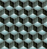 Monochrome illusive abstract geometric seamless pattern with 3d Royalty Free Stock Photos