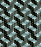 Monochrome illusive abstract geometric seamless pattern with 3d. Cubes. Vector stylized texture, best for graphic and web design royalty free illustration