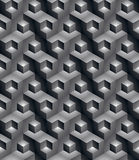 Monochrome illusive abstract geometric seamless pattern with 3d. Cubes. Vector stylized texture, best for graphic and web design Stock Photo
