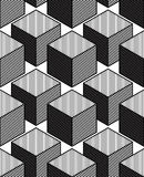 Monochrome illusory abstract geometric seamless pattern, 3d Royalty Free Stock Photo