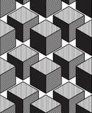 Monochrome illusory abstract geometric seamless pattern, 3d Royalty Free Stock Photo