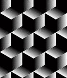 Monochrome illusory abstract geometric seamless pattern with 3d. Geometric figures. Vector black and white striped backdrop Stock Photos