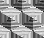 Monochrome illusory abstract geometric seamless pattern with 3d. Geometric figures. Vector black and white striped backdrop Royalty Free Stock Photography
