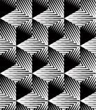 Monochrome illusory abstract geometric seamless pattern with 3d Royalty Free Stock Image